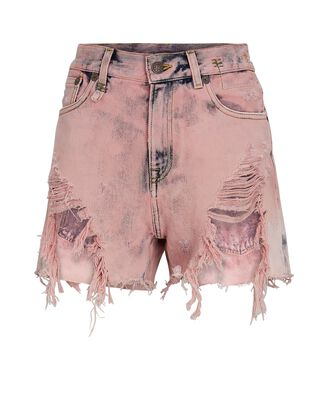 Shredded Slouch Denim Shorts, FADED PINK, hi-res