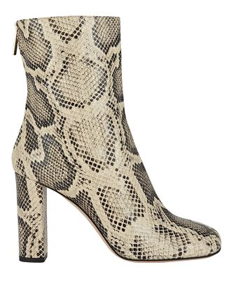 Python-Embossed Leather Booties, BEIGE, hi-res