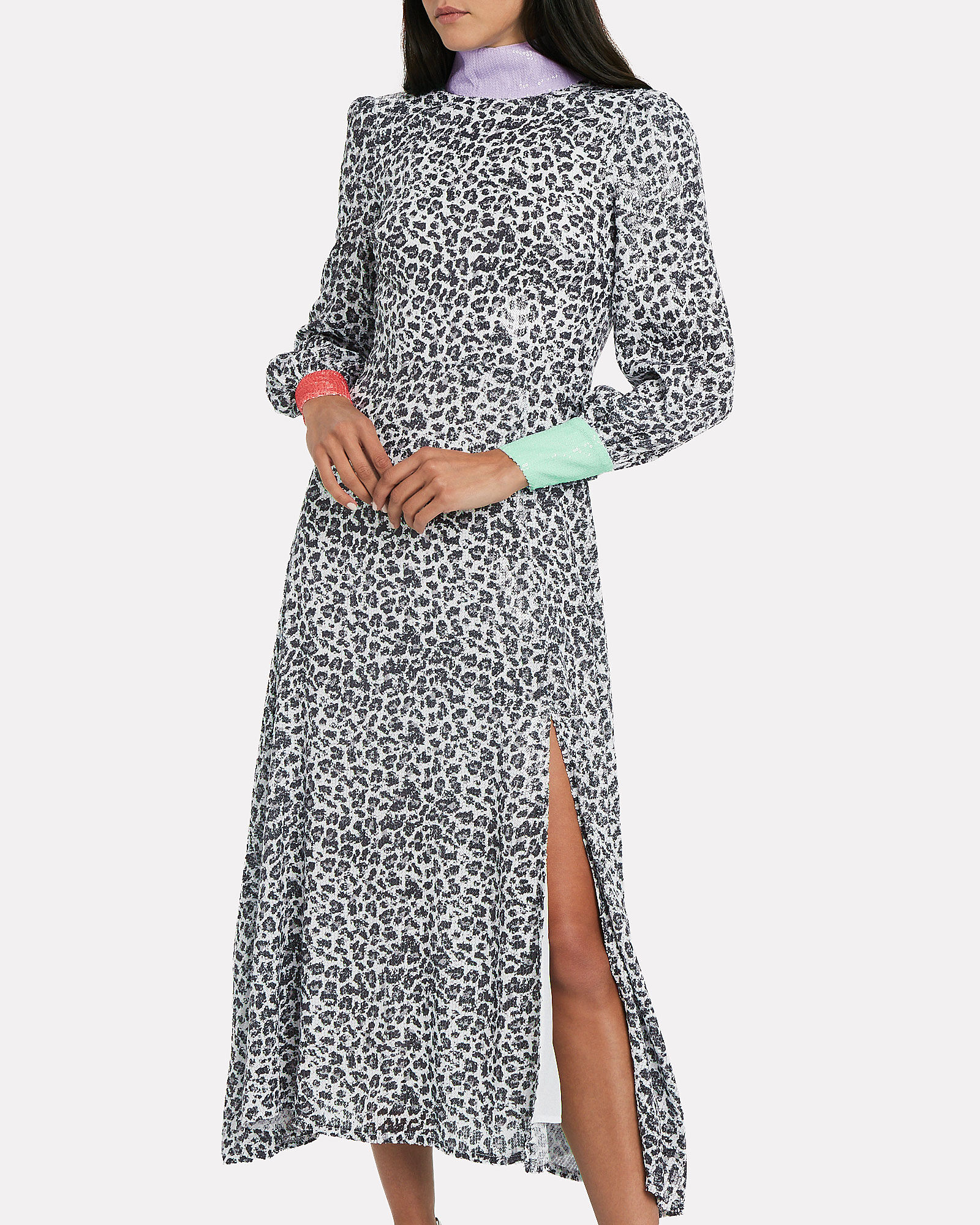 Amelie Sequin-Embellished Leopard Dress, MULTI, hi-res