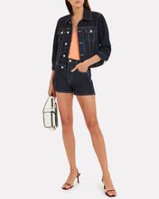 Zoey Crop Denim Jacket, DARK WASH DENIM, hi-res