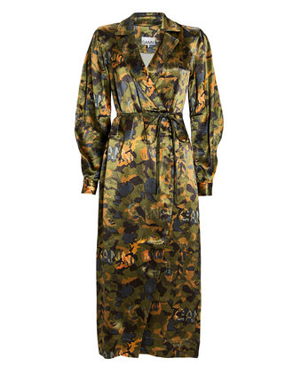 Camouflage Heavy Satin Shirt Dress, OLIVE/CAMOUFLAGE, hi-res