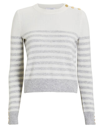 Florence Striped Cashmere Sweater, WHITE/GREY STRIPE, hi-res