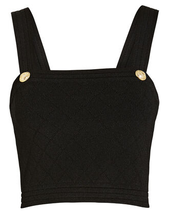 Diamond Knit Crop Top, BLACK, hi-res
