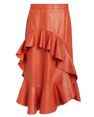April Leather Midi Skirt, ORANGE, hi-res
