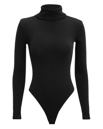 Ribbed Turtleneck Bodysuit, BLACK, hi-res