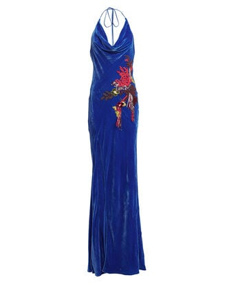 Velvet Draped Ikebana Gown, BLUE-MED, hi-res