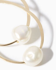 Pearl Hoop Earrings, GOLD, hi-res