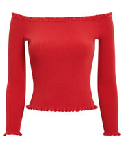 Celine Off Shoulder Knit Top, RED, hi-res