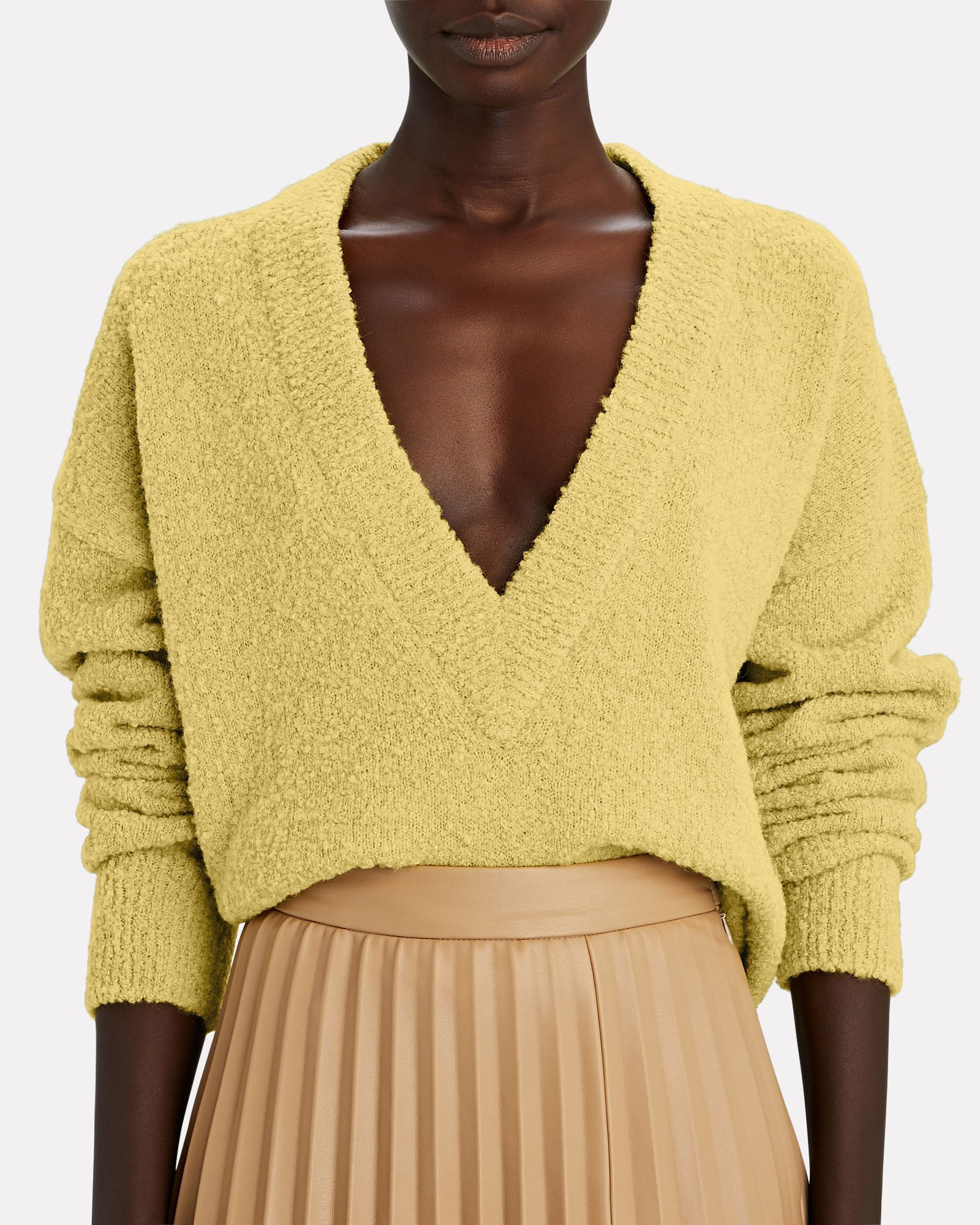 Bouclé Alpaca Cropped Sweater, YELLOW, hi-res