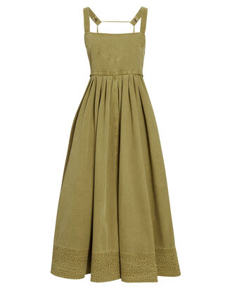 Washed Chambray Apron Dress, GREEN, hi-res