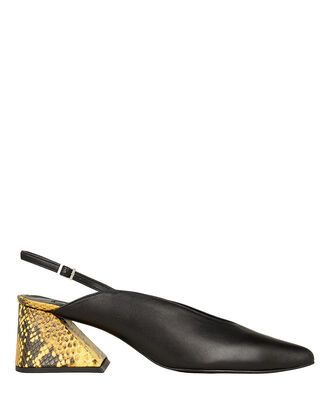 Amie Slingback Leather Pumps, BLACK/PYTHON, hi-res