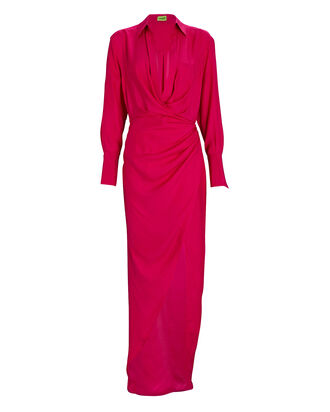 Naha Draped Shirt Dress, PINK, hi-res