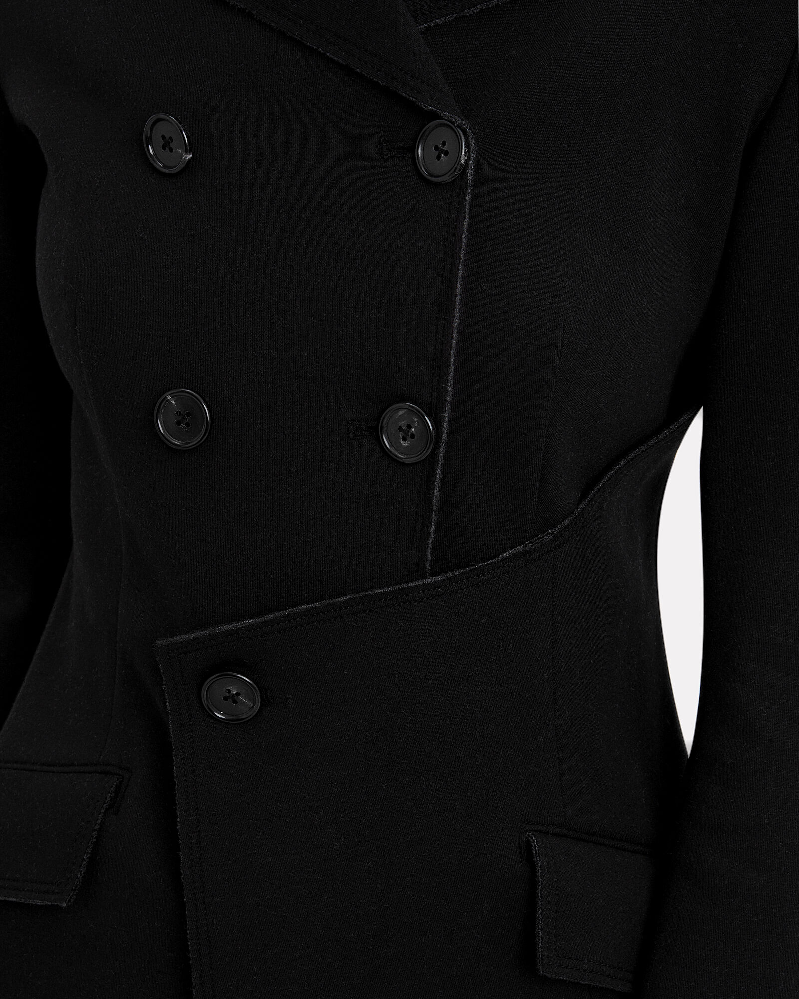 Jersey Asymmetrical Blazer Jacket, BLACK, hi-res