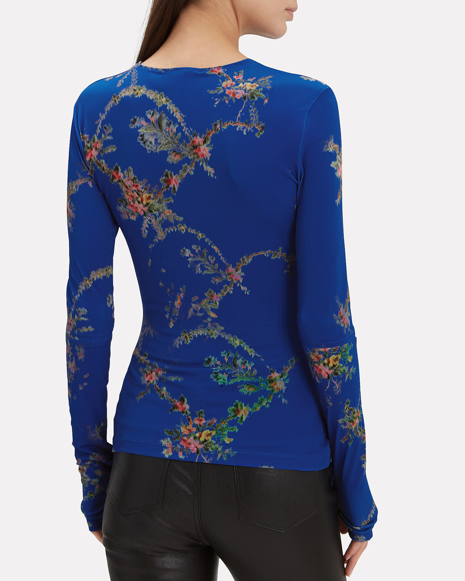 Dee Floral Top, BLUE-MED, hi-res