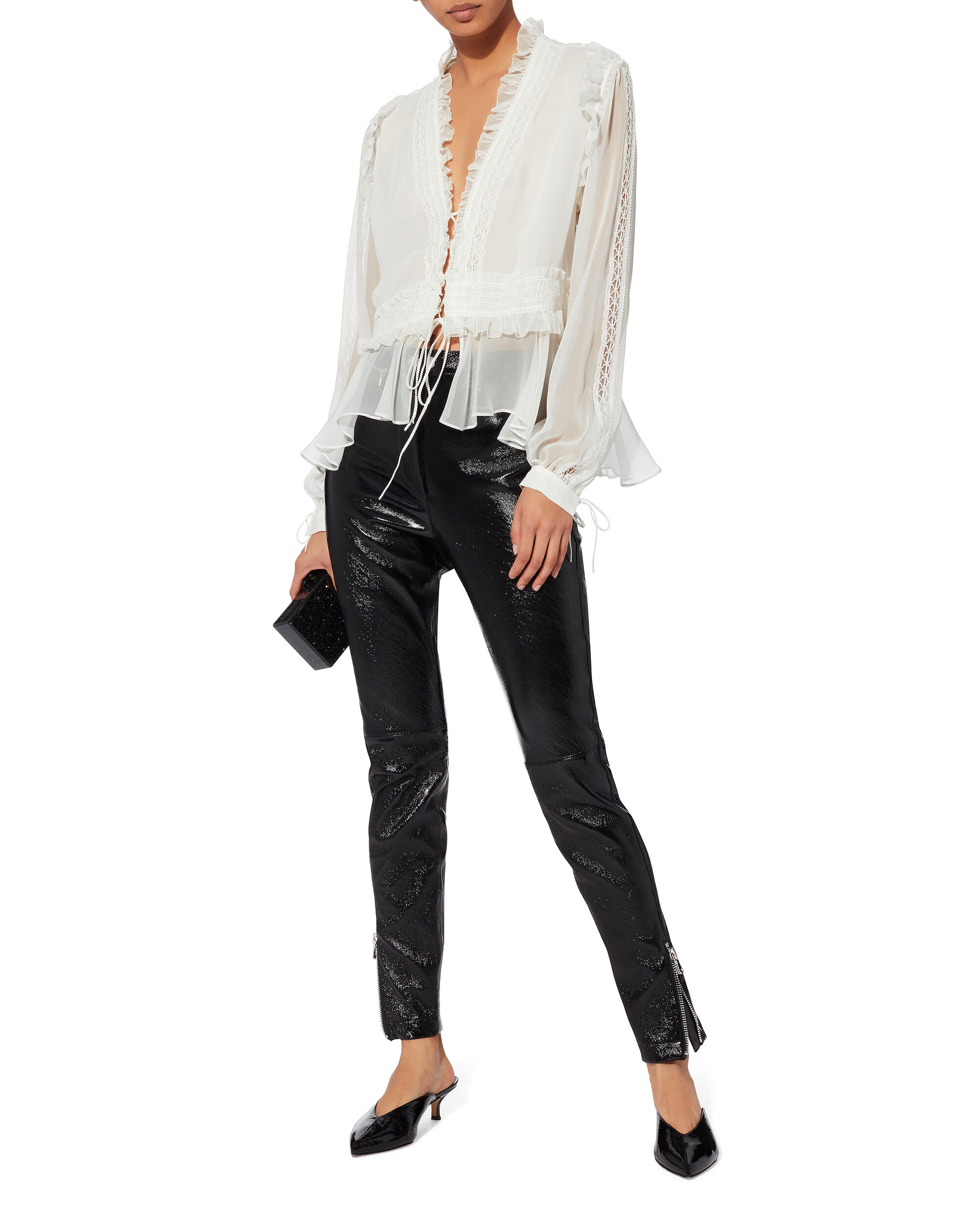 Mixed Trim Blouse, IVORY, hi-res