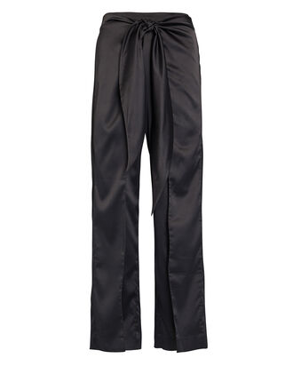Cropped Tie-Waist Satin Pants, BLACK, hi-res