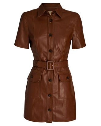 Vegan Leather Mini Shirt Dress, BROWN, hi-res