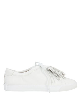 Logan Tassel Leather Sneakers, WHITE 2, hi-res