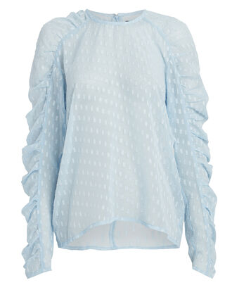 Puff Sleeve Georgette Blouse, POWDER BLUE, hi-res