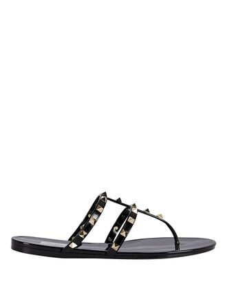 Rockstud Jelly Thong Sandals, BLACK, hi-res