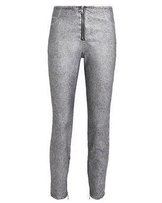 Madison Front Zip Silver Coated Pants, METALLIC SILVER DENIM, hi-res
