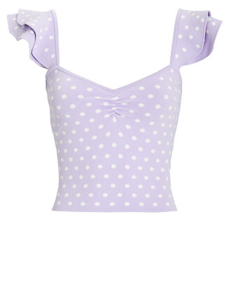 Natasha Polka Dot Ruffle Top, PURPLE/WHITE/POLKA DOTS, hi-res