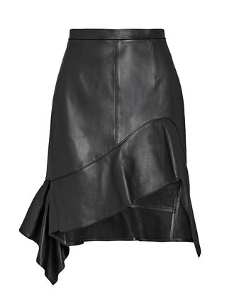 Deconstructed Leather Ruffle Skirt, BLACK, hi-res