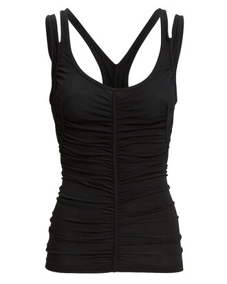 Ruched Black Tank, BLACK, hi-res