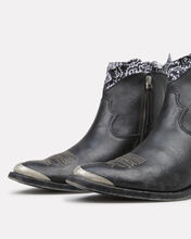 Young Leather Western Booties With Bandana Trim, BLACK/BANDANA, hi-res