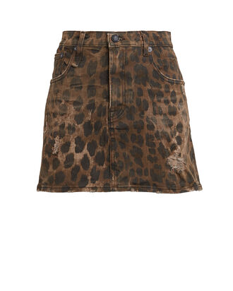 Leopard Print Denim Mini Skirt, BROWN LEOPARD, hi-res