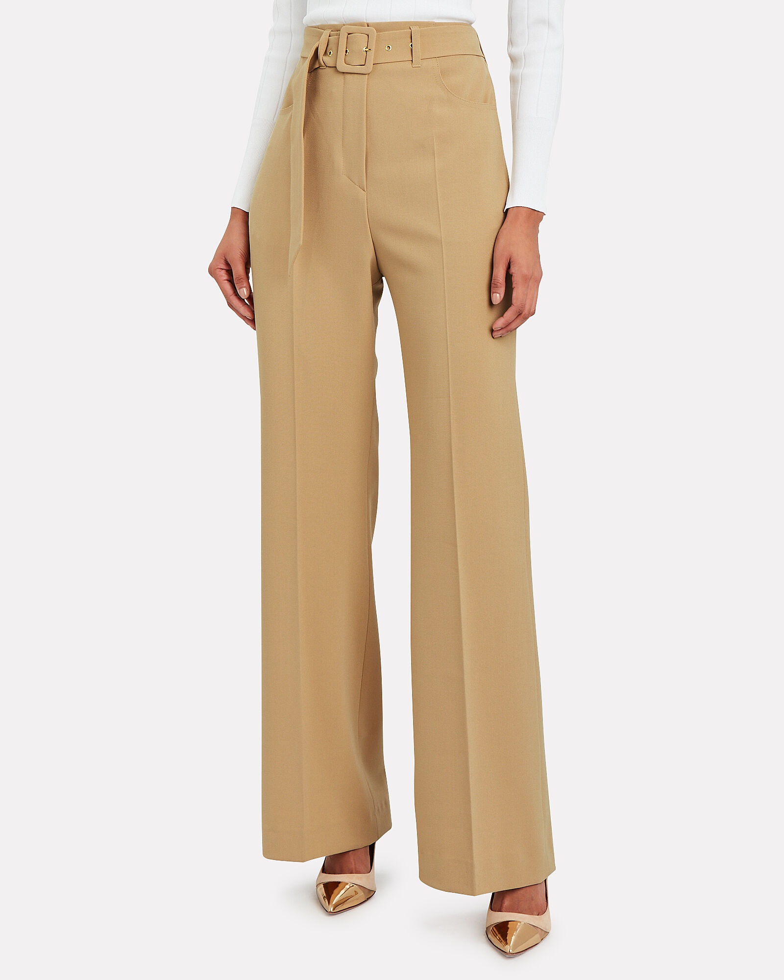 Clara Belted High-Rise Trousers, BEIGE, hi-res