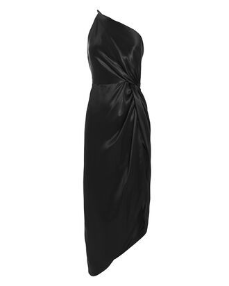 Twist Knot Silk One Shoulder Dress, BLACK, hi-res