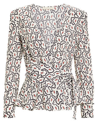Euphony Ziggy Print Blouse, IVORY/BLACK ABSTRACT PRINT, hi-res