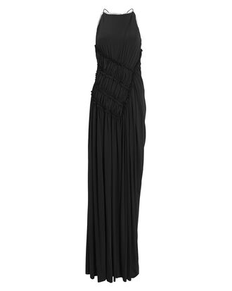Gathered Fluid Gown, BLACK, hi-res