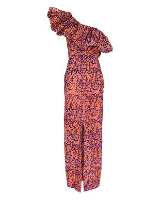 Uma Printed One-Shoulder Dress, ORANGE/PURPLE, hi-res