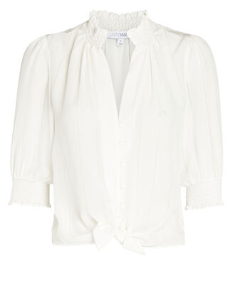 Eileen Silk Button-Down Top, IVORY, hi-res