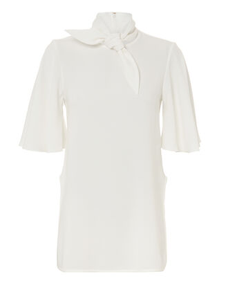 Salvador Tie Neck Top, IVORY, hi-res