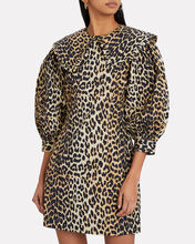Leopard Cotton Poplin Mini Dress, MULTI, hi-res