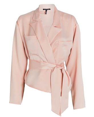 Riley Satin Crepe Wrap Blouse, , hi-res