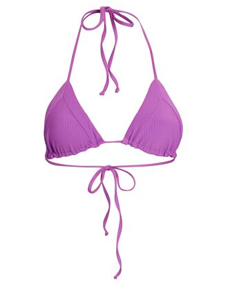 Sky Triangle Rib Knit Bikini Top, PURPLE, hi-res