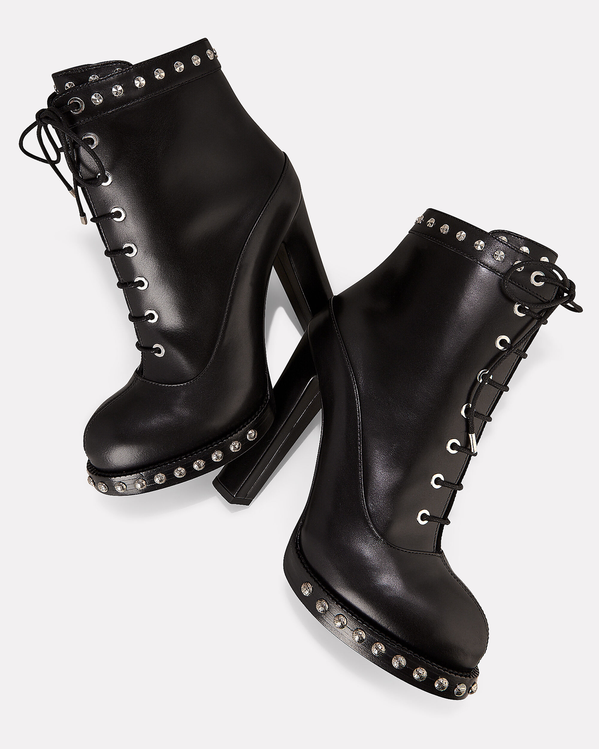 Studded Lace-Up Booties, BLACK, hi-res