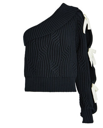 Saville One-Shoulder Sweater, NAVY, hi-res