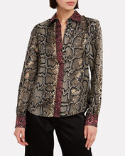 Slim Snake-Printed Silk Shirt, OLIVE/ARMY, hi-res