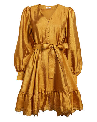 Farrow Satin Blouson Sleeve Dress, MARIGOLD, hi-res