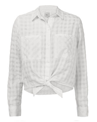 Kelsey Shadow White Check Shirt, WHITE, hi-res
