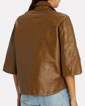 Leather Button-Down Shirt, BROWN, hi-res