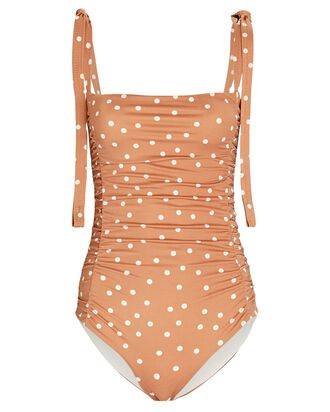 Sabbatical Polka Dot One-Piece Swimsuit, ORANGE/WHITE, hi-res
