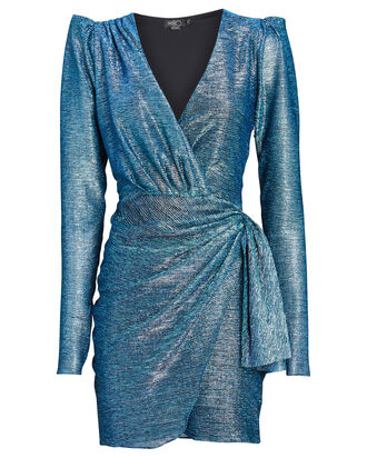 Metallic Mini Wrap Dress, BLUE, hi-res
