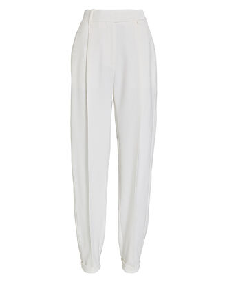 Tapered Virgin Wool Trousers, IVORY, hi-res