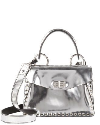Hava Studded Top Handle Bag, SILVER, hi-res